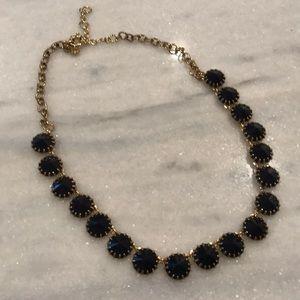 J Crew Dark Navy necklace, gold finish chain.